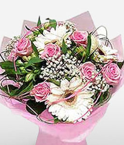 Pink Pearls-Pink,White,Daisy,Gerbera,Rose,Bouquet