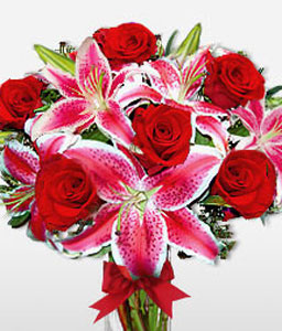 Hugs & Kisses - Anniversary Special-Pink,Red,Lily,Rose,Arrangement