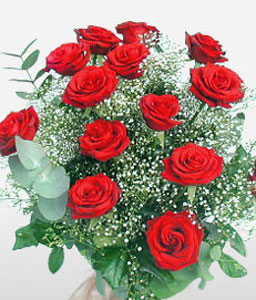 Scarlet Lips - 15 Red Roses-Green,Red,Rose,Bouquet