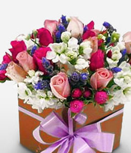 Fragrant Box - Anniversary Flowers-Mixed,Pink,Red,White,Rose,Mixed Flower,Freesia,Arrangement
