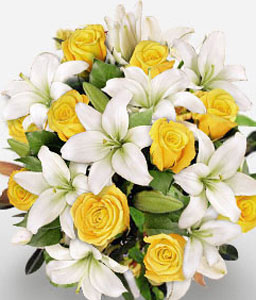Joys Galore-White,Yellow,Lily,Rose,Bouquet