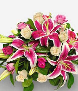 Cherished Moments-Pink,Lily,Rose,Bouquet