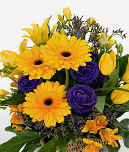 Glowing Blooms-Yellow,Lily,Gerbera,Arrangement,Basket