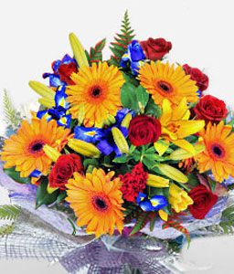 Golden Glory-Mixed,Orange,Red,Yellow,Gerbera,Lily,Rose,Bouquet