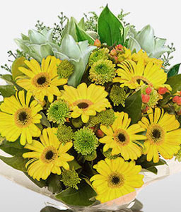Sunshine-White,Yellow,Lily,Gerbera,Daisy,Bouquet