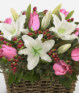 Magic Of Beauty-Pink,White,Lily,Tulip,Basket