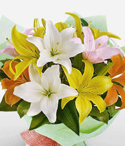 Lake Palace-Mixed,Orange,Pink,White,Yellow,Lily,Bouquet