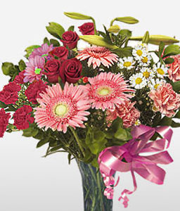 Exotica - Mixed Flower Arrangement-Mixed,Pink,Red,White,Chrysanthemum,Daisy,Gerbera,Mixed Flower,Rose,Arrangement