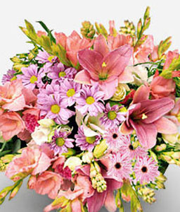 Pink Fantasie-Mixed,Peach,Pink,Yellow,Chrysanthemum,Lily,Bouquet