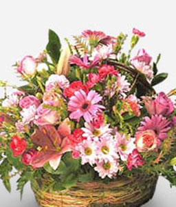 Darling Blooms Basket-Pink,Mixed Flower,Arrangement,Basket