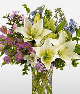 Heavenly Blooms-Blue,Green,Mixed,Purple,White,Carnation,Lily,Mixed Flower,Arrangement,Bouquet