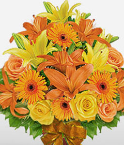 Serene Glory-Mixed,Orange,Yellow,Gerbera,Lily,Mixed Flower,Rose,Bouquet