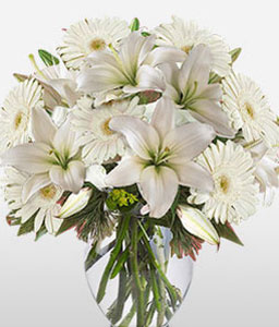 Chardonnay-White,Mixed Flower,Lily,Gerbera,Daisy,Bouquet