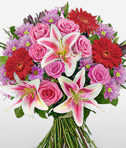 Oriental Bouquet-Mixed,Pink,Purple,Chrysanthemum,Gerbera,Lily,Mixed Flower,Rose,Bouquet