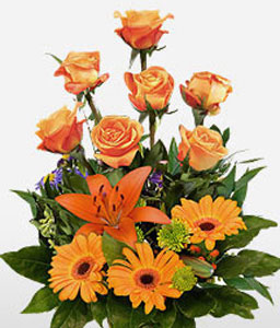 Luscious-Orange,Mixed Flower,Arrangement