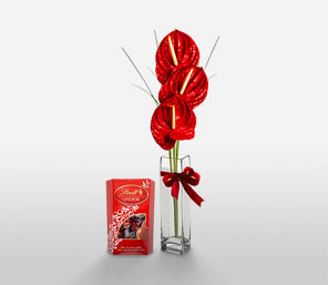 Chocolate And Flowers-Red,Anthuriums,Chocolate,Gourmet,Arrangement