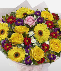 Round And Beautiful-Mixed,Purple,Red,Yellow,Mixed Flower,Bouquet