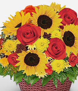 Sunkissed Blooms-Mixed,Red,Yellow,Arrangement,Basket