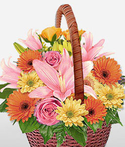 Assorted Trance-Mixed,Orange,Pink,Yellow,Mixed Flower,Lily,Gerbera,Rose,Arrangement,Basket