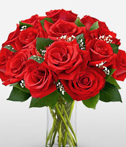 Love Medley - Dozen Roses in Vase-Red,Rose,Arrangement