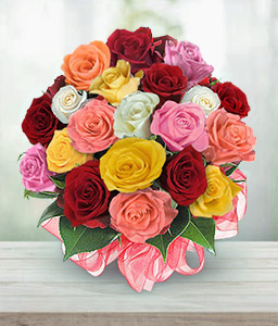 Rainbow Roses-Mixed,Orange,Peach,Pink,Red,White,Yellow,Rose,Bouquet