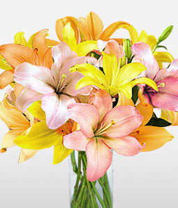 Floral Jewels-Orange,Pink,Yellow,Lily,Arrangement