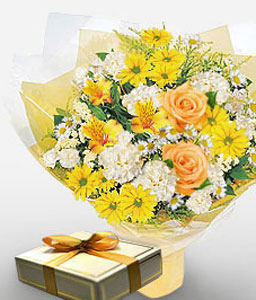 Voortrekker Wonder-Mixed,Orange,White,Yellow,Carnation,Chocolate,Chrysanthemum,Mixed Flower,Rose,Bouquet