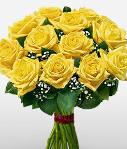 Glittering Dozen Yellow Roses-Yellow,Rose,Bouquet