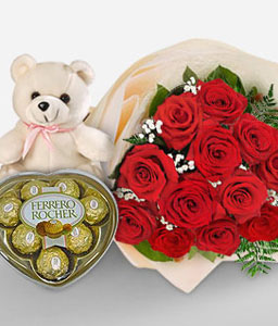 Dozen Red Roses-Red,Chocolate,Rose,Teddy,Bouquet,Hamper