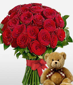 Hugs N Kisses-Red,Rose,Teddy,Bouquet,Hamper