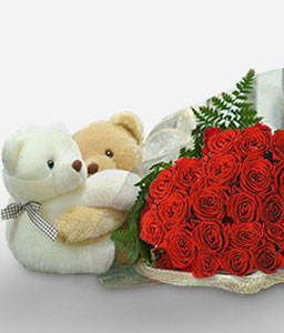 Too Much Love-Red,Rose,Teddy,Bouquet,Hamper