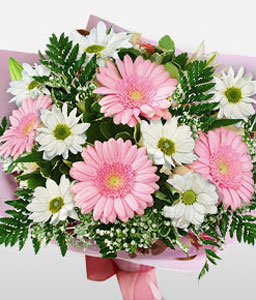 Mothers Day Flowers-Mixed,Pink,White,Chrysanthemum,Gerbera,Mixed Flower,Basket