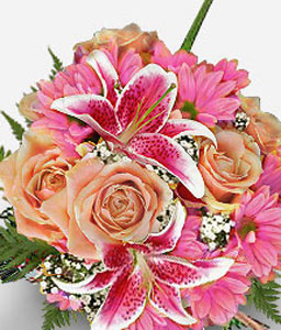 Legend Of The Fall-Pink,Chrysanthemum,Lily,Arrangement