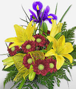 Prelude To A Kiss-Mixed,Red,Yellow,Chrysanthemum,Lily,Arrangement