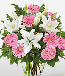 Pret-A-Porter-Pink,White,Gerbera,Lily,Bouquet
