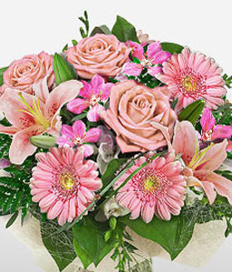 Sweet Dreams-Pink,Gerbera,Lily,Mixed Flower,Rose,Bouquet