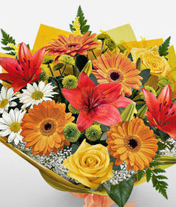 The Dream Garden-Mixed,Orange,Red,Chrysanthemum,Gerbera,Mixed Flower,Rose,Bouquet