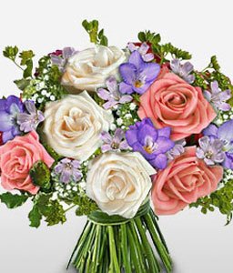 The Gentle Touch-Mixed,Pink,White,Rose,Bouquet