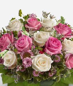 Strawberry Ice-Mixed,Pink,White,Rose,Bouquet