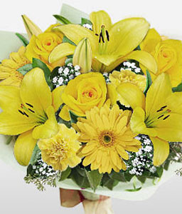 Sunshine Bouquet-Yellow,Carnation,Gerbera,Lily,Mixed Flower,Rose,Bouquet