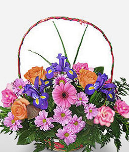 Basket of Love-Mixed,Gerbera,Iris,Mixed Flower,Rose,Arrangement,Basket