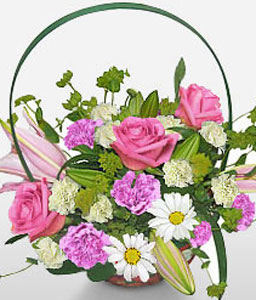 Angel Face-Mixed,Pink,White,Carnation,Lily,Mixed Flower,Rose,Arrangement,Basket
