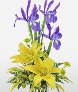 Fatal Atraction-Mixed,Yellow,Iris,Lily,Mixed Flower,Arrangement