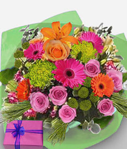 Cape Town Mxed Flowers-Green,Mixed,Orange,Pink,Daisy,Gerbera,Lily,Mixed Flower,Rose,Arrangement