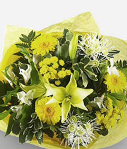 Natures Elegance-Yellow,Chrysanthemum,Daisy,Gerbera,Lily,Mixed Flower,Bouquet