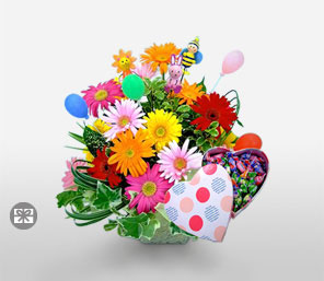 Kyoto Magnificence-Mixed,Peach,Pink,Red,Yellow,Daisy,Gerbera,Bouquet,Hamper