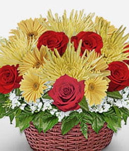 Basket Of Eden-Mixed,Red,Yellow,Chrysanthemum,Gerbera,Rose,Arrangement,Basket