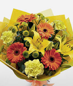 Garden Of Eden-Orange,Yellow,Carnation,Daisy,Gerbera,Lily,Mixed Flower,Bouquet