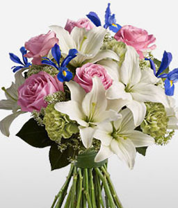Strawberry Ice-Blue,Pink,White,Yellow,Carnation,Iris,Lily,Mixed Flower,Rose,Bouquet