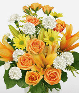 Seasons Glory-Mixed,Orange,White,Yellow,Rose,Mixed Flower,Lily,Daisy,Carnation,Arrangement